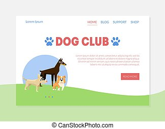 Dog Club Banner, Landing Page Template with Place for Text, Dog Training, Walking and Grooming Vector Illustration