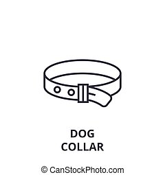 dog collar line icon, outline sign, linear symbol, vector, flat illustration