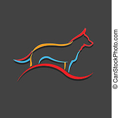 Dog color styled silhouette logo - Dog color styled...