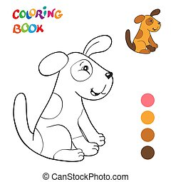 dog., coloration, contour, vecteur, livre, rouges, sourire, dessin animé, kids.