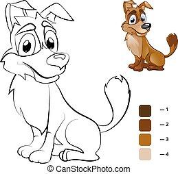 dog., coloration, couleur, livre, enfants, préscolaire