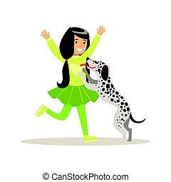 dog., colorido, ella, carácter, ilustración, caricatura,...