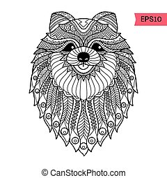 Hand drawn zentangle Pom dog background for coloring page