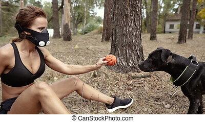 dog., combat, donne, femme, balle