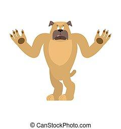 Dog confused emoji oops. Pet perplexed emotions. bulldog surprise. Vector illustration