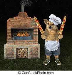 Dog cooks meat on the grill 2