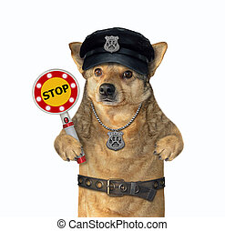 Dog cop holds stop sign 2