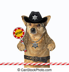 Dog cop holds stop sign