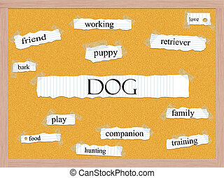 Dog Corkboard Word Concept with great terms such as puppy,...