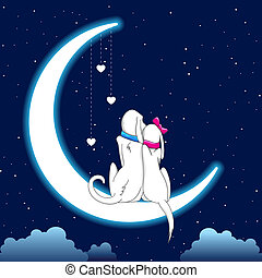 Dog Couple Sitting on Moon