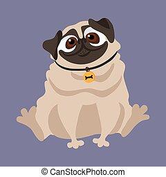 dog., csinos, pug., vektor, ábra