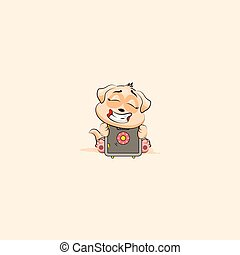 dog cub sticker emoticon hug safe with money