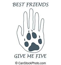dog., cute, silueta, human, dar, forever., pata, ilustração, mão, mim, vetorial, segurando, five., amigos
