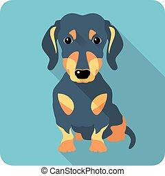 dog dachshund icon flat design - dog dachshund sitting icon...