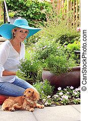 dog., dame, jardinier