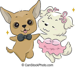 Dog Dance - Illustration of a Pair of Dogs Dancing