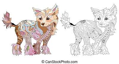 dog., decorativo, ilustración, mano, estilizado, vector, ...