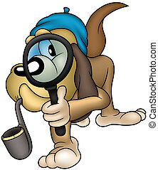 Dog Detective - Colored Cartoon Illustration, Vector
