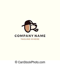 dog detective head using hat and smoking pipe icon logo template vector illustration