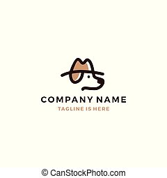 dog detective head using hat vector icon logo template