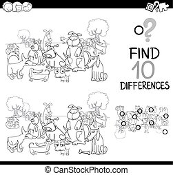 dog difference game coloring page - Black and White Cartoon ...