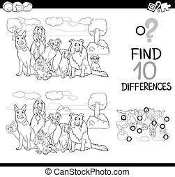dog difference game coloring page - Black and White Cartoon...
