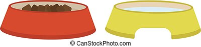 Dog dish food in bowl animal feed meal canine snack plate vector illustration.