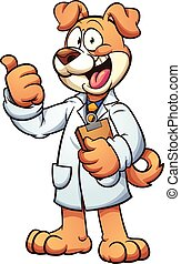 Dog doctor wearing a medical gown. Vector clip art cartoon...