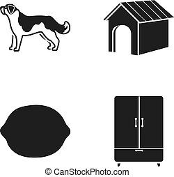 Dog, dog booth and other web icon in black style. lemon, cupboard icons in set collection.