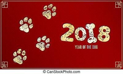 dog., doré, style, grunge, chinois, illustration, pattern., ...