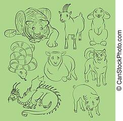 Dog-Dragon-goat-pig-rabbit-sheep-snake-tiger