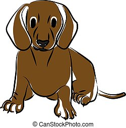 Dog drawing, illustration, vector on white background.