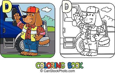 Dog driver ABC coloring book. Alphabet D