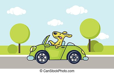 dog driving car - Cute dog driving green car, vector...