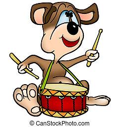 Dog  Drummer - Cartoon Illustration, Vector