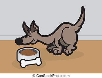 Dog Eating - Cartoon dog eating bowl of food