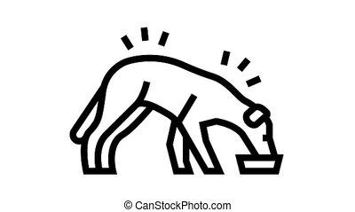 dog eating food animated black icon. dog eating food sign. isolated on white background