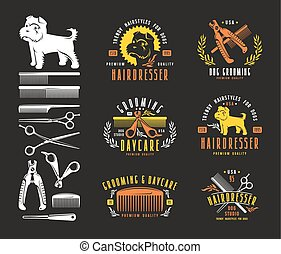 dog., elementos, diseño, insignias, peluquero