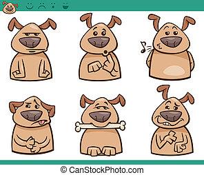 dog emotions cartoon illustration set - Cartoon Illustration...