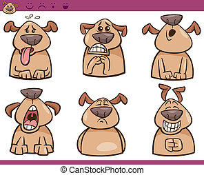 dog emotions cartoon illustration set - Cartoon Illustration...