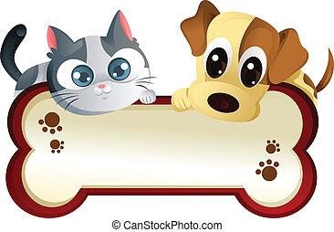 dog, en, kat, met, spandoek