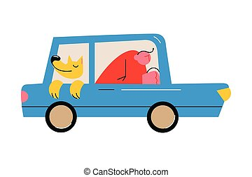Dog enjoying journey in car with owner on back seat with open window