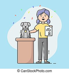 Dog Exhibition Concept. Woman Holds In Hand Certificate From Animal Exhibition. Girl Prouds Of Her Pet. Pretty Dog Sitting On Podium With Gold Medal. Cartoon Linear Outline Flat Vector Illustration