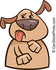 Cartoon Illustration of Funny Disgusted Dog Expressing Yuck