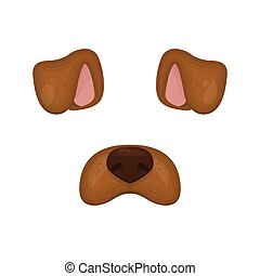 Dog face elements. Vector illustration. Animal character ears and nose. For selfie photo decoration. Cartoon brown Dog mask. Isolated on white. Easy to edit.