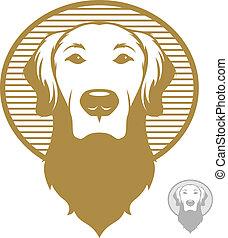 Dog Face Icon - Vintage styled illustration of a golden...