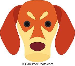 Dog face icon, flat style