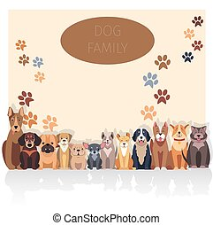 Dog Family Banner in Purebred Concept. Vector