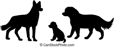 Dog family. Silhouettes of pet animals