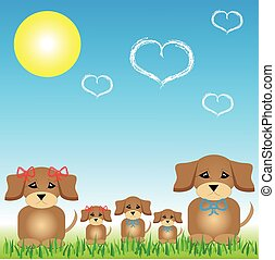 Dog family sitting on the grass with the sun
